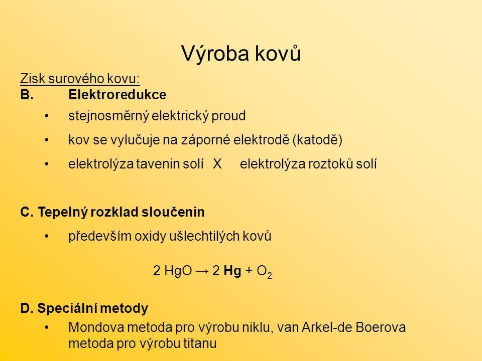 Zisk surového kovu: B.Elektroredukce stejnosměrný elektrický proud kov se vylučuje na záporné elektrodě (katodě) elektrolýza tavenin solíX elektrolýza