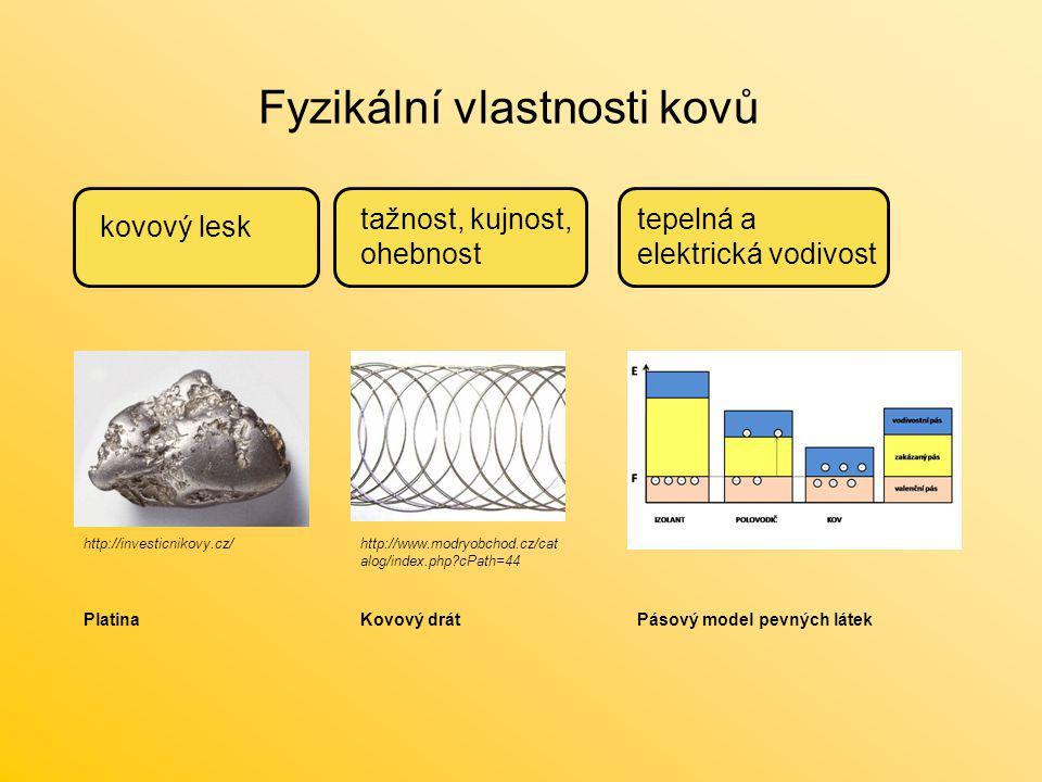 Fyzikální vlastnosti kovů kovový lesk tažnost, kujnost, ohebnost tepelná a elektrická vodivost http://investicnikovy.cz/http://www.modryobchod.cz/cat
