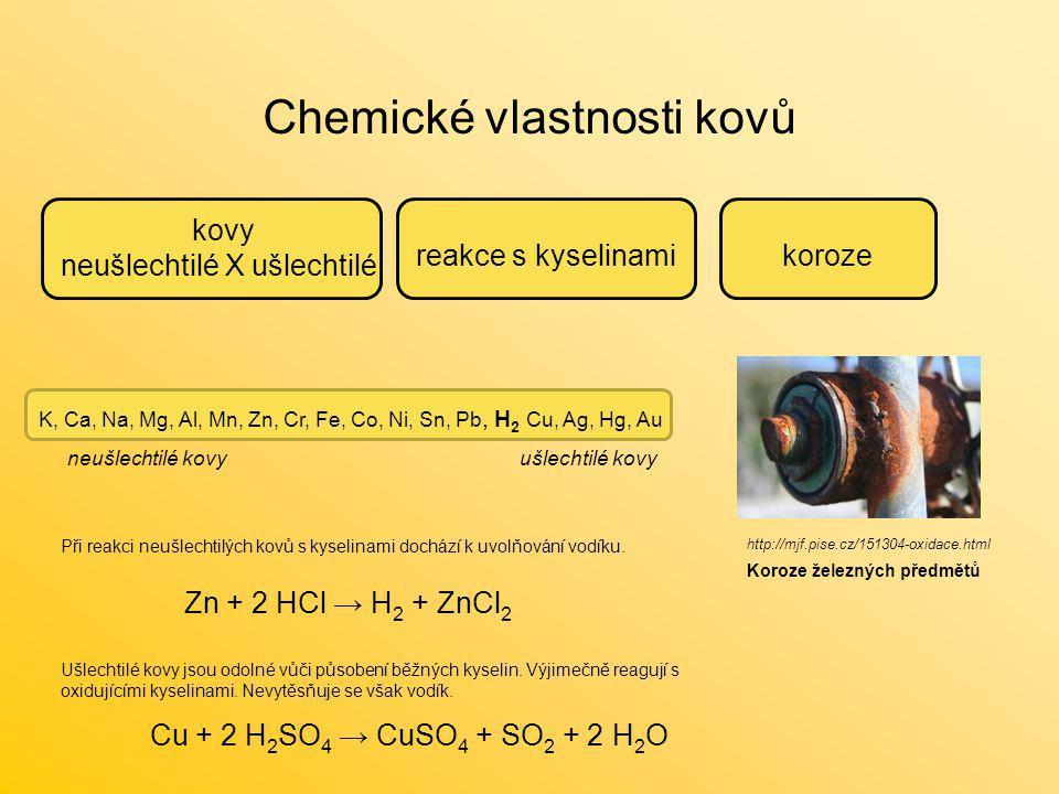 Chemické vlastnosti kovů kovy neušlechtilé X ušlechtilé reakce s kyselinamikoroze K, Ca, Na, Mg, Al, Mn, Zn, Cr, Fe, Co, Ni, Sn, Pb, H 2 Cu, Ag, Hg, A