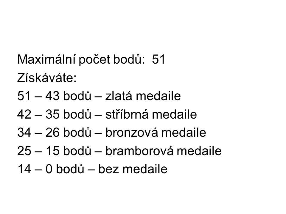 Maximální počet bodů: 51 Získáváte: 51 – 43 bodů – zlatá medaile 42 – 35 bodů – stříbrná medaile 34 – 26 bodů – bronzová medaile 25 – 15 bodů – bramborová medaile 14 – 0 bodů – bez medaile