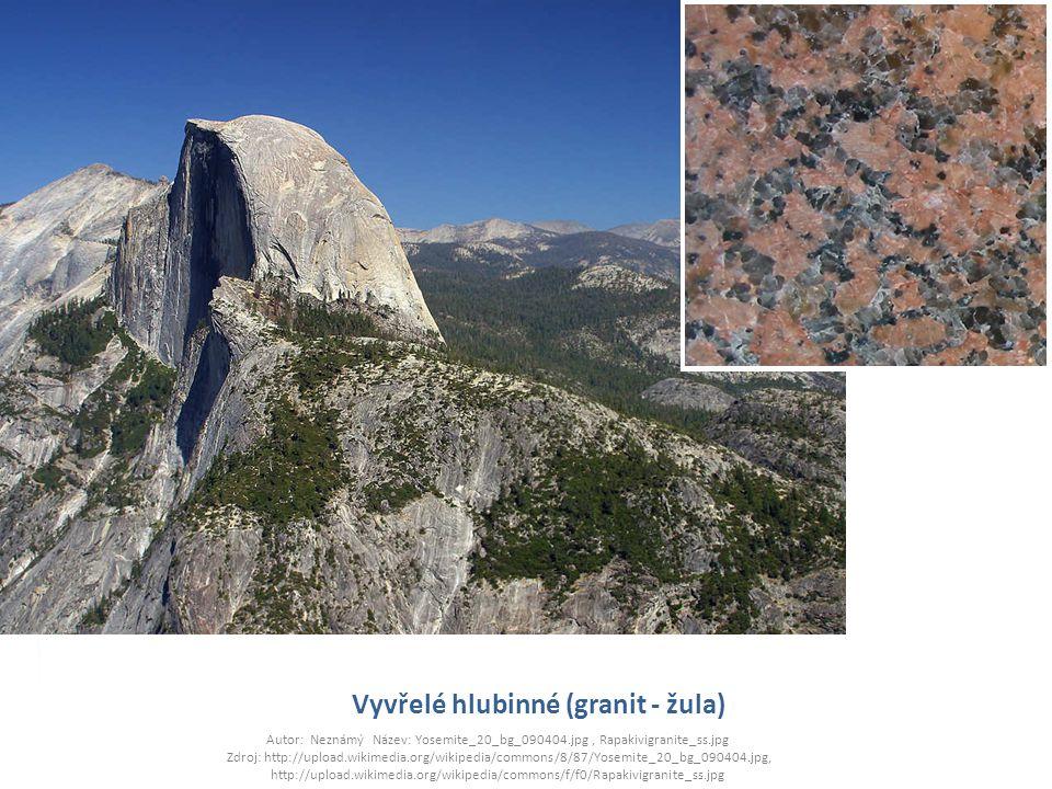 Vyvřelé hlubinné (granit - žula) Autor: Neznámý Název: Yosemite_20_bg_090404.jpg, Rapakivigranite_ss.jpg Zdroj: http://upload.wikimedia.org/wikipedia/