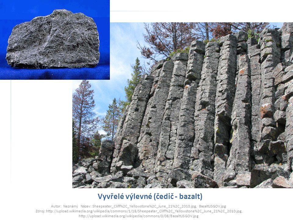 Vyvřelé výlevné (čedič - bazalt) Autor: Neznámý Název: Sheepeater_Cliff%2C_Yellowstone%2C_June_21%2C_2010.jpg, BasaltUSGOV.jpg Zdroj: http://upload.wi