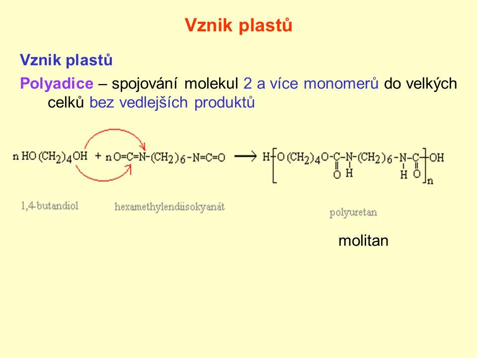 Vznik plastů Polyadice – spojování molekul 2 a více monomerů do velkých celků bez vedlejších produktů molitan