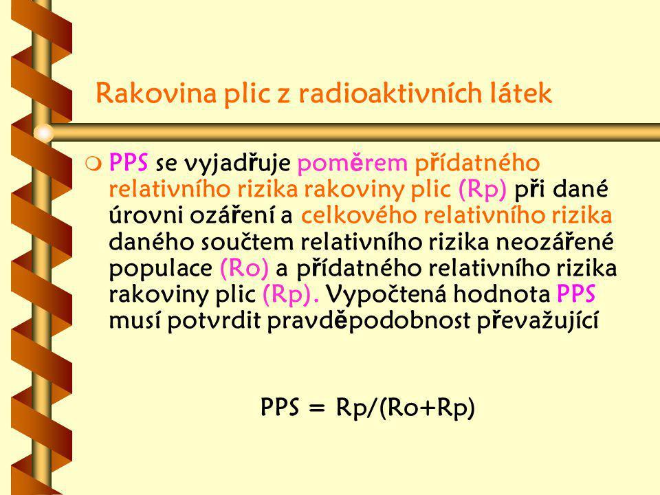 Rakovina plic z radioaktivních látek m m PPS se vyjad ř uje pom ě rem p ř ídatného relativního rizika rakoviny plic (Rp) p ř i dané úrovni ozá ř ení a celkového relativního rizika daného součtem relativního rizika neozá ř ené populace (Ro) a p ř ídatného relativního rizika rakoviny plic (Rp).