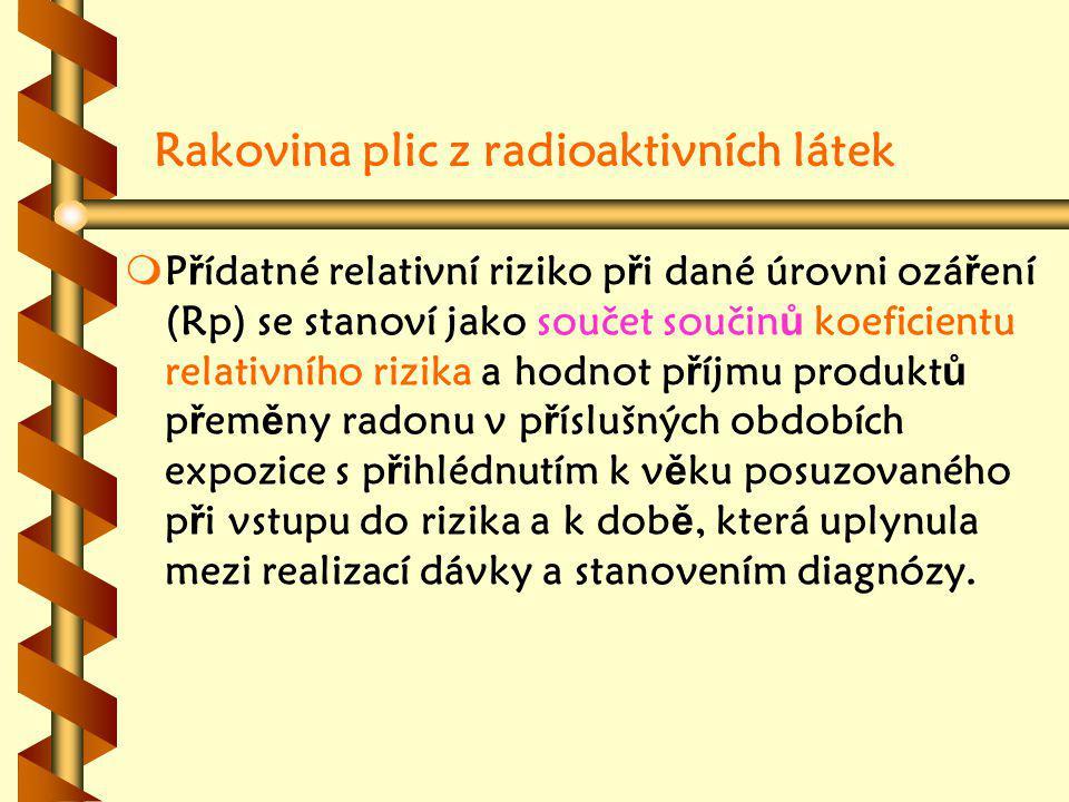 Rakovina plic z radioaktivních látek m mP ř ídatné relativní riziko p ř i dané úrovni ozá ř ení (Rp) se stanoví jako součet součin ů koeficientu relativního rizika a hodnot p ř íjmu produkt ů p ř em ě ny radonu v p ř íslušných obdobích expozice s p ř ihlédnutím k v ě ku posuzovaného p ř i vstupu do rizika a k dob ě, která uplynula mezi realizací dávky a stanovením diagnózy.