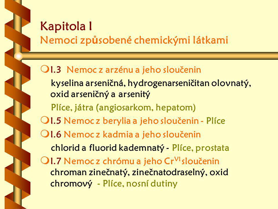 Kapitola I Nemoci zp ů sobené chemickými látkami m m I.3 Nemoc z arzénu a jeho sloučenin kyselina arseničná, hydrogenarseničitan olovnatý, oxid arseničný a arsenitý Plíce, játra (angiosarkom, hepatom) m m I.5 Nemoc z berylia a jeho sloučenin - Plíce m m I.6 Nemoc z kadmia a jeho sloučenin chlorid a fluorid kademnatý - Plíce, prostata m m I.7 Nemoc z chrómu a jeho Cr VI sloučenin chroman zinečnatý, zinečnatodraselný, oxid chromový - Plíce, nosní dutiny
