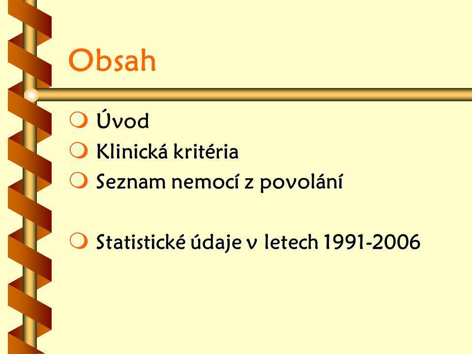 Obsah   Úvod  Klinická kritéria  Seznam nemocí z povolání  Statistické údaje v letech 1991-2006