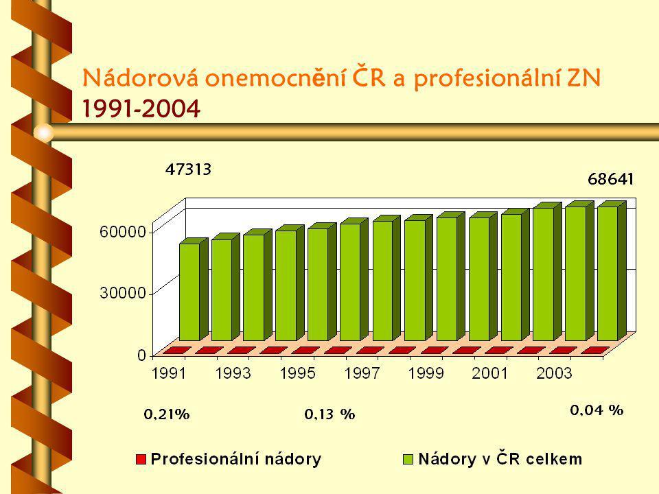 Nádorová onemocn ě ní ČR a profesionální ZN 1991-2004