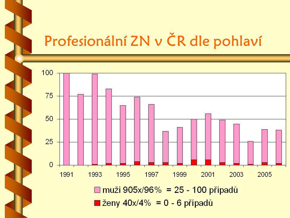 Profesionální ZN v ČR dle pohlaví