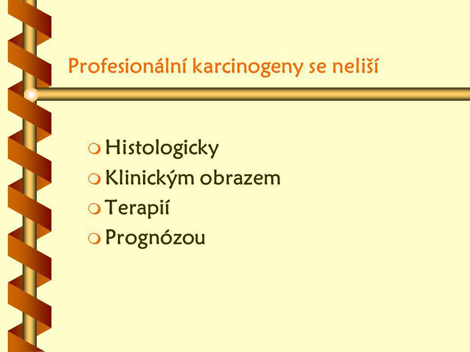 Profesionální karcinogeny se neliší m m Histologicky m m Klinickým obrazem m m Terapií m m Prognózou