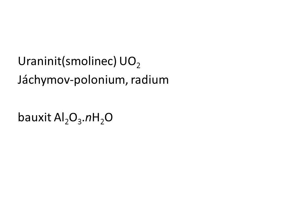 Uraninit(smolinec) UO 2 Jáchymov-polonium, radium bauxit Al 2 O 3.nH 2 O