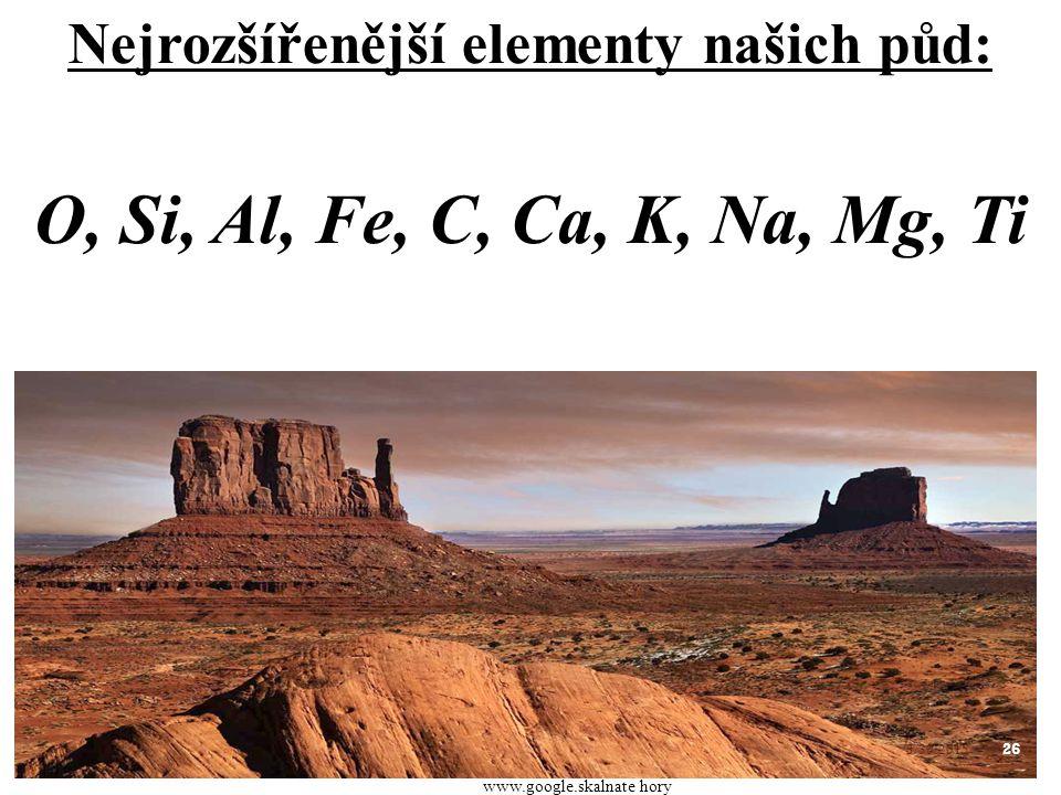 Nejrozšířenější elementy našich půd: O, Si, Al, Fe, C, Ca, K, Na, Mg, Ti 26 3/30/2015 www.google.skalnate hory