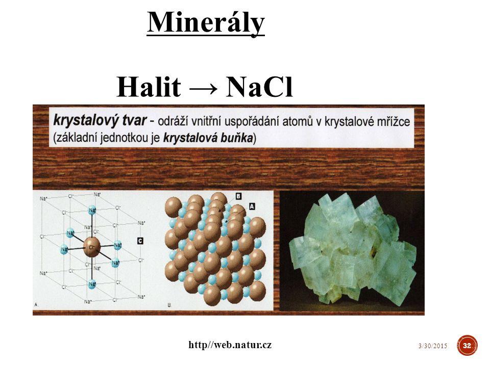 Minerály Halit → NaCl 32 3/30/2015 http//web.natur.cz