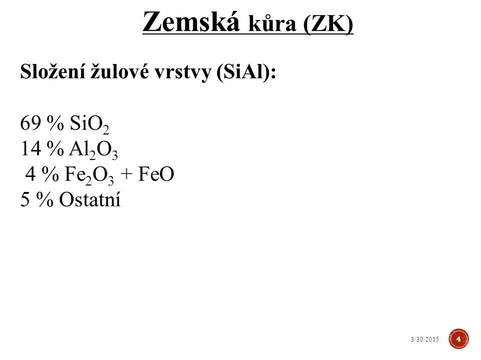 Složení žulové vrstvy (SiAl): 69 % SiO 2 14 % Al 2 O 3 4 % Fe 2 O 3 + FeO 5 % Ostatní Zemská kůra (ZK) 4 3/30/2015