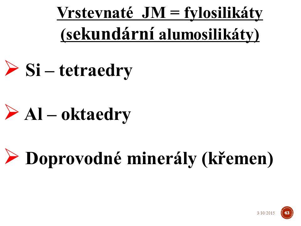 Vrstevnaté minerály = fylosilikáty (sekundární alumosilikáty) Si – tetraedr 44 3/30/2015 http://web2.mendelu.cz/
