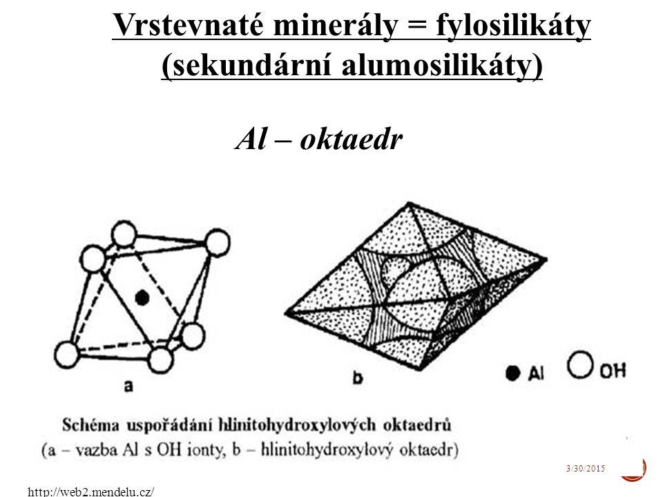 Vrstevnaté minerály = fylosilikáty (sekundární alumosilikáty) Al – oktaedr 45 3/30/2015 http://web2.mendelu.cz/