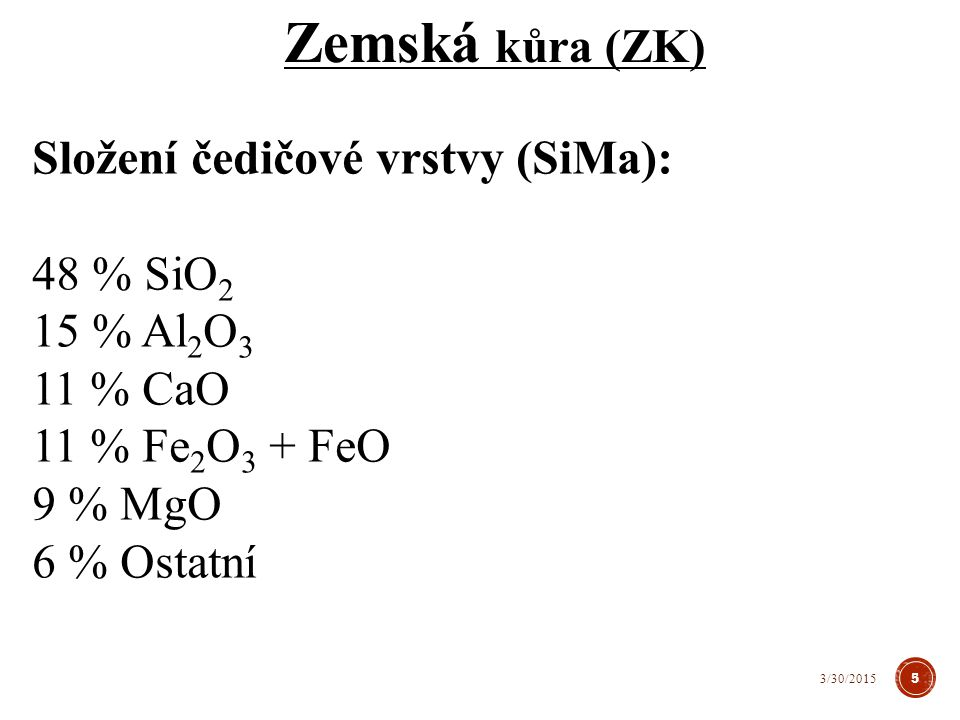 Zemská kůra (ZK) Složení čedičové vrstvy (SiMa): 48 % SiO 2 15 % Al 2 O 3 11 % CaO 11 % Fe 2 O 3 + FeO 9 % MgO 6 % Ostatní 5 3/30/2015