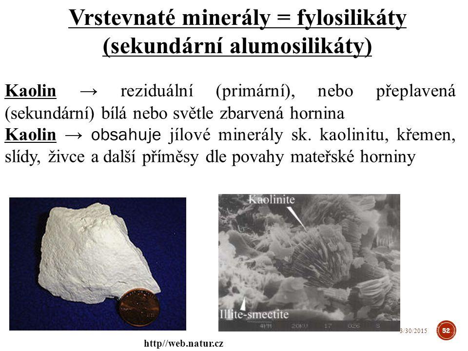 Kaolin → reziduální (primární), nebo přeplavená (sekundární) bílá nebo světle zbarvená hornina Kaolin → obsahuje jílové minerály sk.