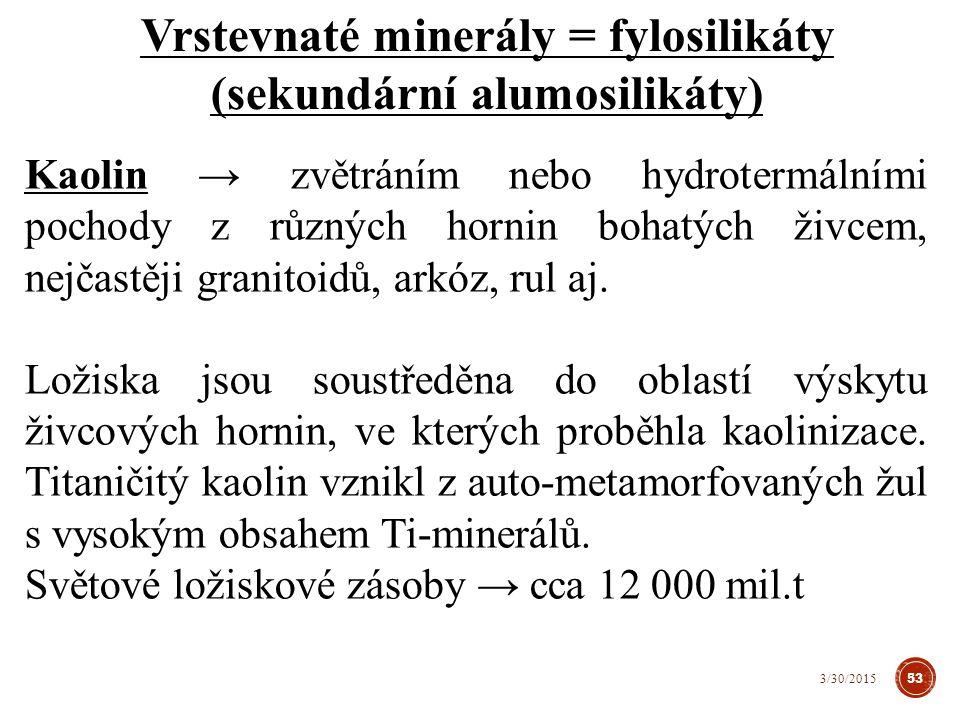 Kaolin → zvětráním nebo hydrotermálními pochody z různých hornin bohatých živcem, nejčastěji granitoidů, arkóz, rul aj.