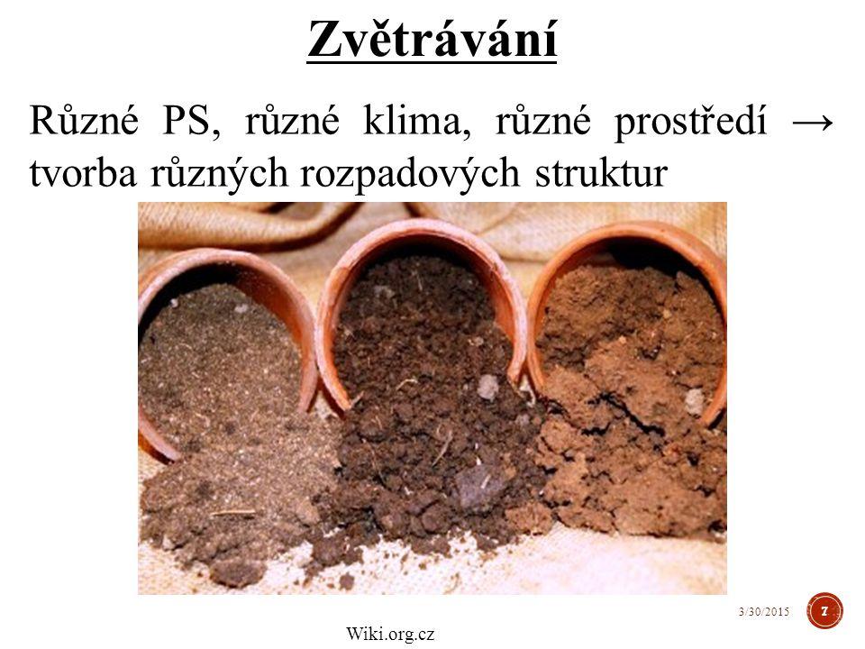Různé PS, různé klima, různé prostředí → tvorba různých rozpadových struktur Zvětrávání 7 3/30/2015 Wiki.org.cz