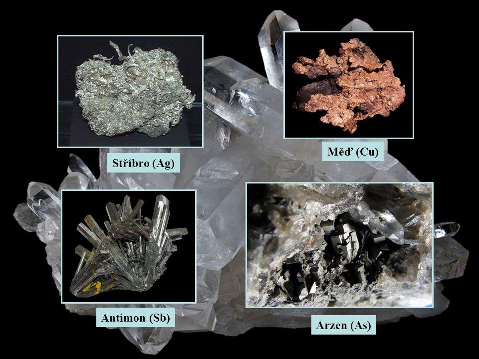 Stříbro (Ag) Měď (Cu) Arzen (As) Antimon (Sb)