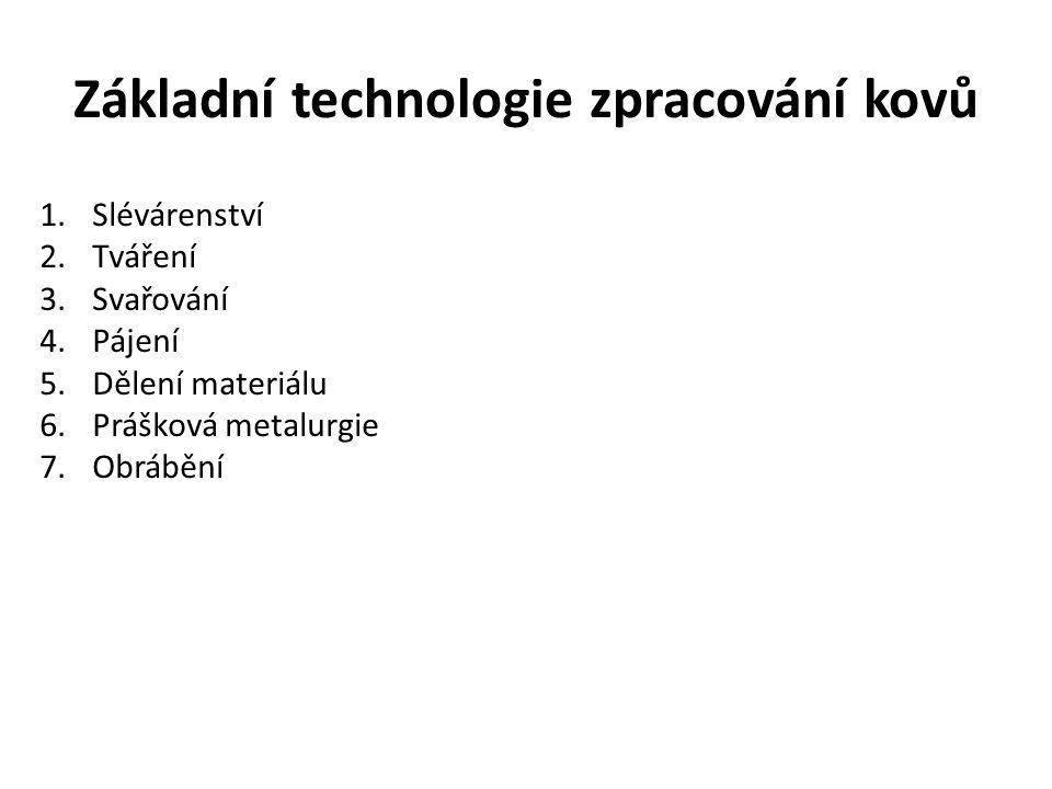 Základní technologie zpracování kovů 1.Slévárenství 2.Tváření 3.Svařování 4.Pájení 5.Dělení materiálu 6.Prášková metalurgie 7.Obrábění