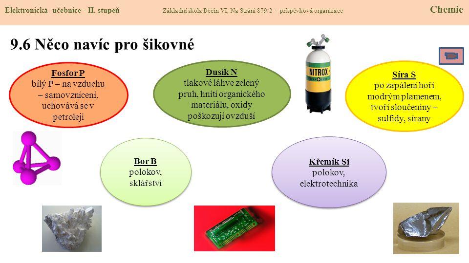 9.6 Něco navíc pro šikovné Elektronická učebnice - II. stupeň Základní škola Děčín VI, Na Stráni 879/2 – příspěvková organizace Chemie Bor B polokov,
