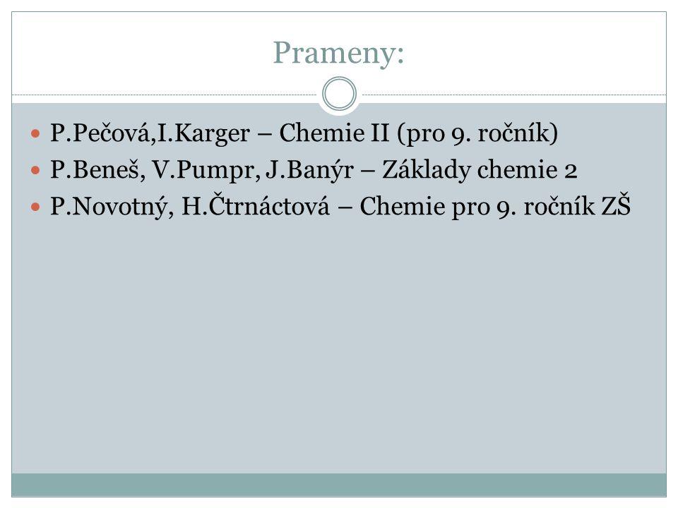 Prameny: P.Pečová,I.Karger – Chemie II (pro 9. ročník) P.Beneš, V.Pumpr, J.Banýr – Základy chemie 2 P.Novotný, H.Čtrnáctová – Chemie pro 9. ročník ZŠ