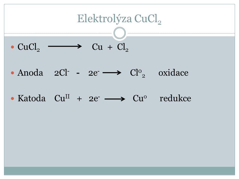 CuCl 2 Cu + Cl 2 Anoda 2Cl - - 2e - Cl 0 2 oxidace Katoda Cu II + 2e - Cu o redukce
