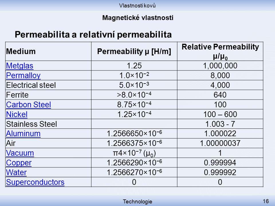 Vlastnosti kovů Technologie 16 Permeabilita a relativní permeabilita MediumPermeability μ [H/m] Relative Permeability μ/μ 0 Metglas1.251,000,000 Perma