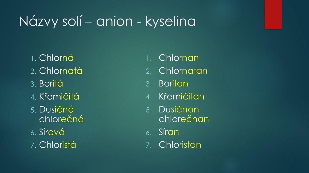 Názvy solí – anion - kyselina 1. Chlorná 2. Chlornatá 3. Boritá 4. Křemičitá 5. Dusičná chlorečná 6. Sírová 7. Chloristá 1. Chlornan 2. Chlornatan 3.