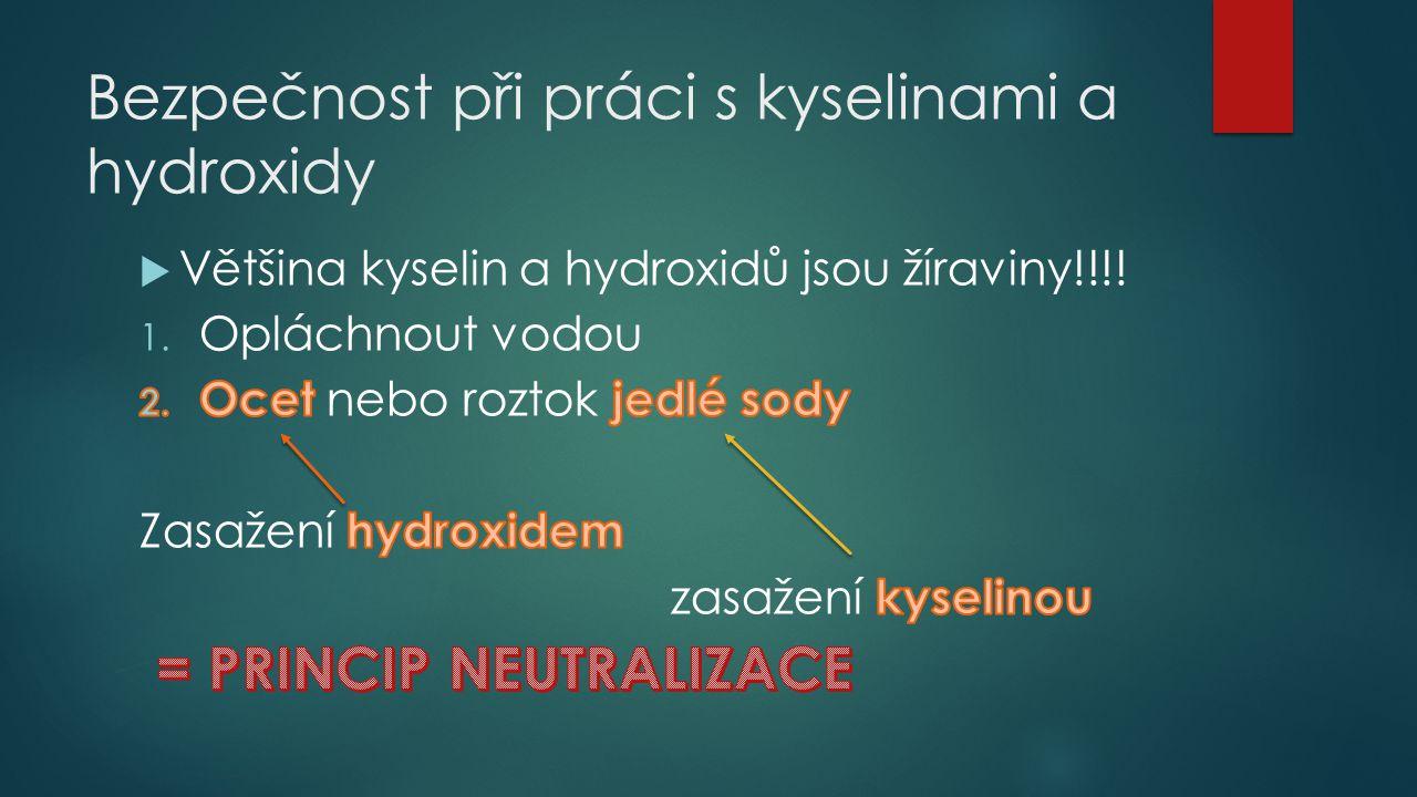 Bezpečnost při práci s kyselinami a hydroxidy