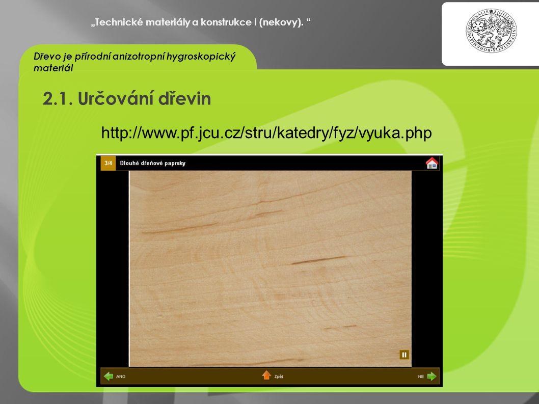 """""""OCHRANA DUŠEVNÍHO VLASTNICTVÍ - KOMERCIALIZACE VÝSLEDKŮ VAV 2.1. Určování dřevin """"Technické materiály a konstrukce I (nekovy). """" Dřevo je přírodní an"""