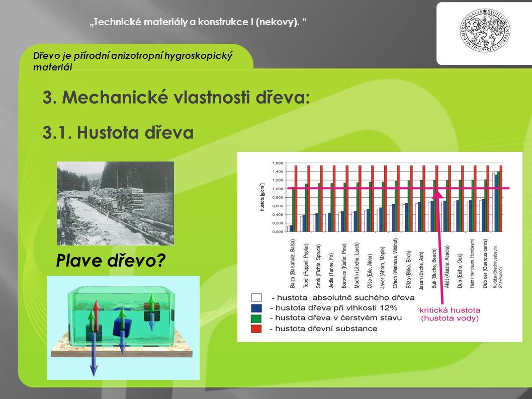 """""""OCHRANA DUŠEVNÍHO VLASTNICTVÍ - KOMERCIALIZACE VÝSLEDKŮ VAV 3. Mechanické vlastnosti dřeva: 3.1. Hustota dřeva """"Technické materiály a konstrukce I (n"""