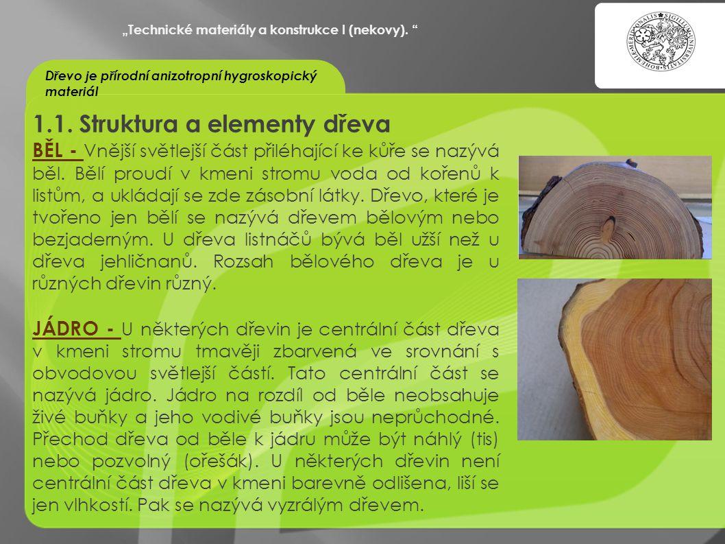 """""""OCHRANA DUŠEVNÍHO VLASTNICTVÍ - KOMERCIALIZACE VÝSLEDKŮ VAV 1.1. Struktura a elementy dřeva BĚL - Vnější světlejší část přiléhající ke kůře se nazývá"""