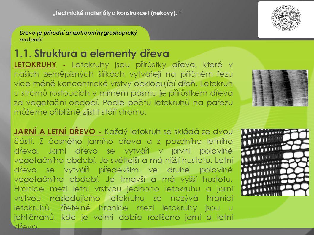 """""""OCHRANA DUŠEVNÍHO VLASTNICTVÍ - KOMERCIALIZACE VÝSLEDKŮ VAV 1.1. Struktura a elementy dřeva LETOKRUHY - Letokruhy jsou přírůstky dřeva, které v našic"""