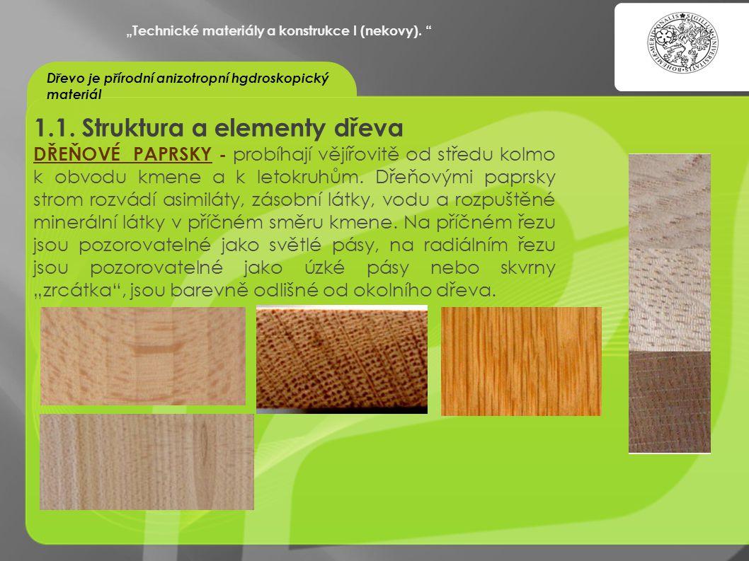 """""""OCHRANA DUŠEVNÍHO VLASTNICTVÍ - KOMERCIALIZACE VÝSLEDKŮ VAV 1.1. Struktura a elementy dřeva DŘEŇOVÉ PAPRSKY - probíhají vějířovitě od středu kolmo k"""