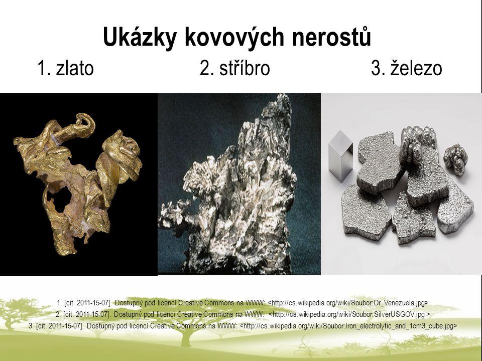 Ukázky kovových nerostů 1. zlato 2. stříbro 3. železo 1. [cit. 2011-15-07]. Dostupný pod licencí Creative Commons na WWW: 2. [cit. 2011-15-07]. Dostup
