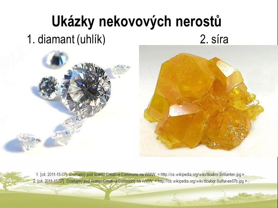 Ukázky nekovových nerostů 1. diamant (uhlík) 2. síra 1. [cit. 2011-15-07]. Dostupný pod licencí Creative Commons na WWW: 2. [cit. 2011-15-07]. Dostupn
