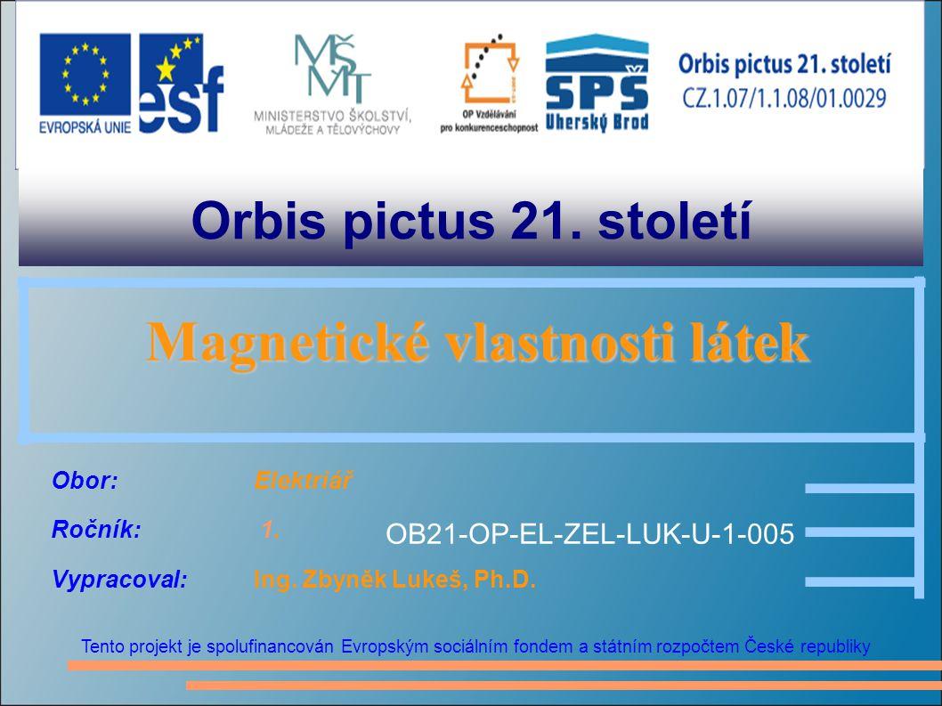 Orbis pictus 21. století Tento projekt je spolufinancován Evropským sociálním fondem a státním rozpočtem České republiky Magnetické vlastnosti látek M