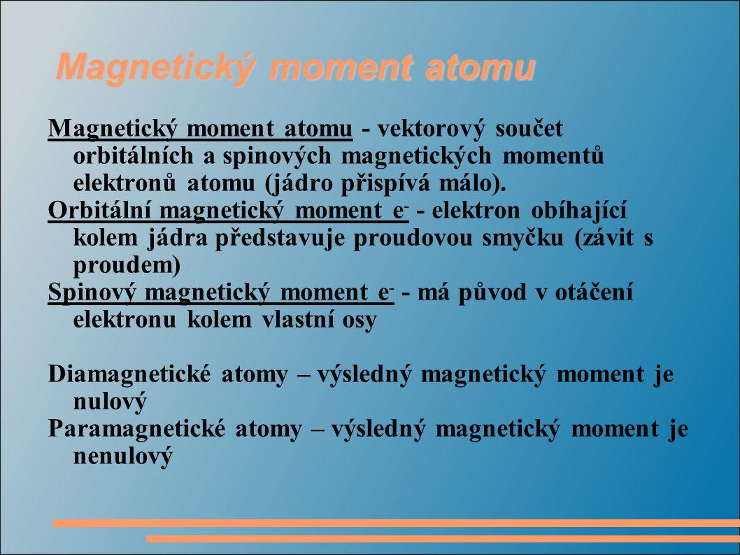 Magnetický moment atomu Magnetický moment atomu - vektorový součet orbitálních a spinových magnetických momentů elektronů atomu (jádro přispívá málo).