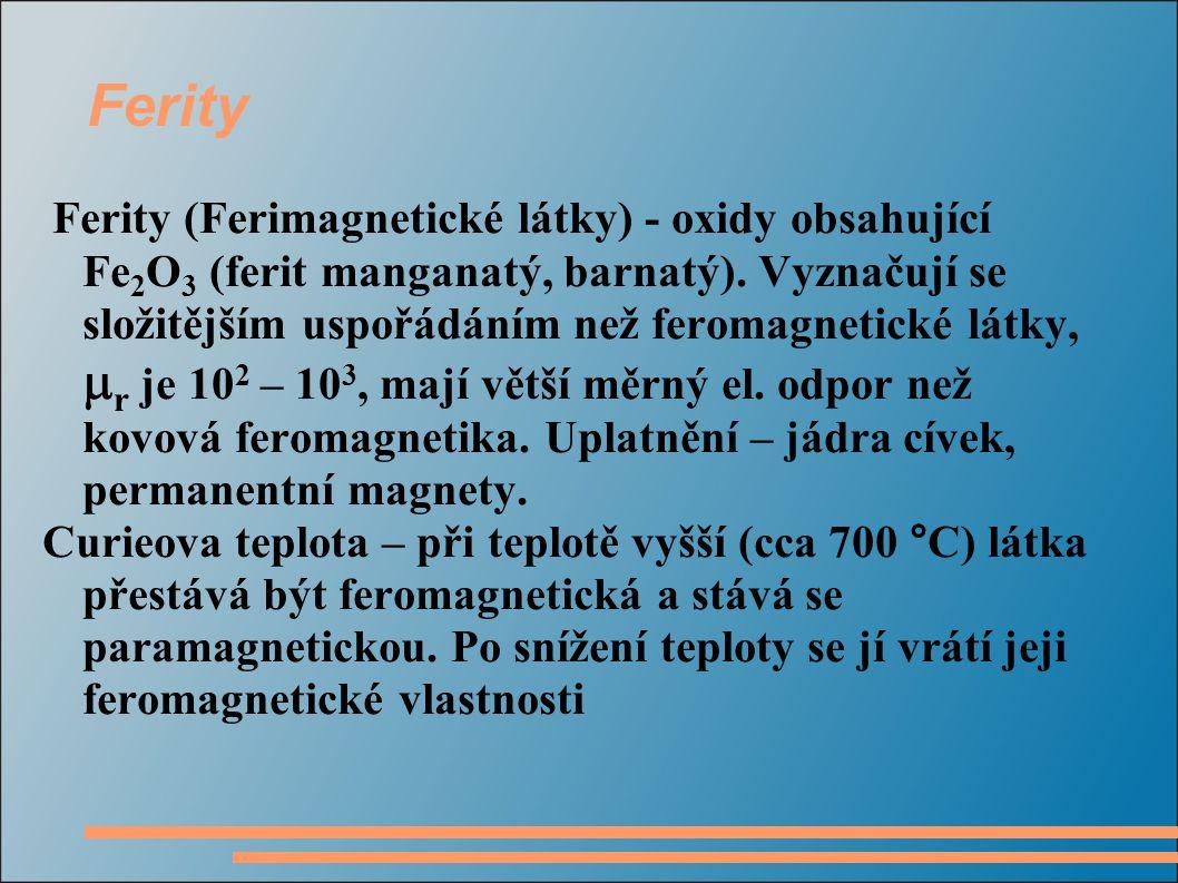 Ferity Ferity (Ferimagnetické látky) - oxidy obsahující Fe 2 O 3 (ferit manganatý, barnatý). Vyznačují se složitějším uspořádáním než feromagnetické l