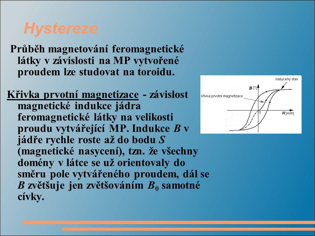 Hystereze Průběh magnetování feromagnetické látky v závislosti na MP vytvořené proudem lze studovat na toroidu. Křivka prvotní magnetizace - závislost