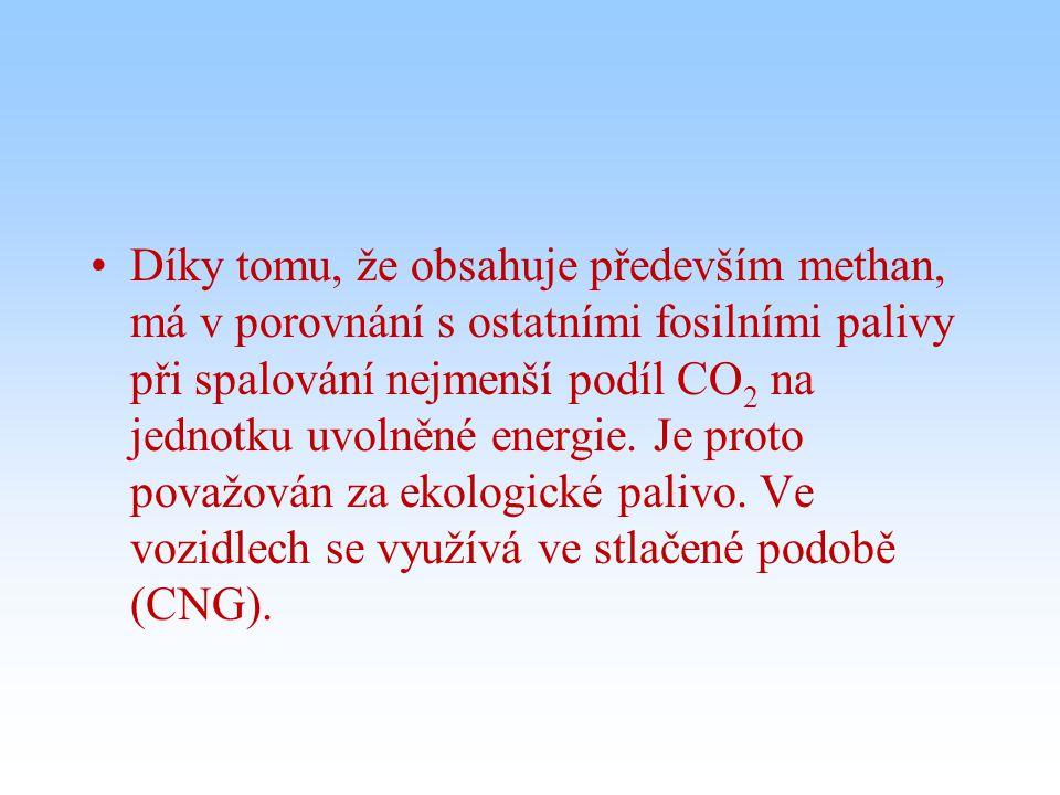 Díky tomu, že obsahuje především methan, má v porovnání s ostatními fosilními palivy při spalování nejmenší podíl CO 2 na jednotku uvolněné energie.