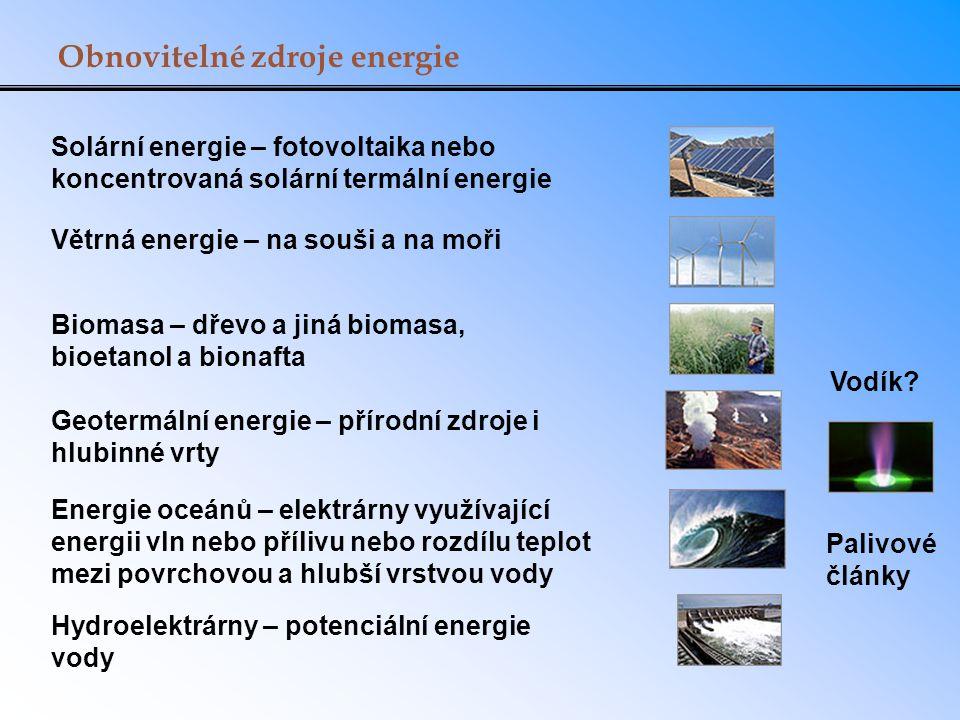 Obnovitelné zdroje energie Solární energie – fotovoltaika nebo koncentrovaná solární termální energie Větrná energie – na souši a na moři Biomasa – dřevo a jiná biomasa, bioetanol a bionafta Geotermální energie – přírodní zdroje i hlubinné vrty Energie oceánů – elektrárny využívající energii vln nebo přílivu nebo rozdílu teplot mezi povrchovou a hlubší vrstvou vody Hydroelektrárny – potenciální energie vody Vodík.