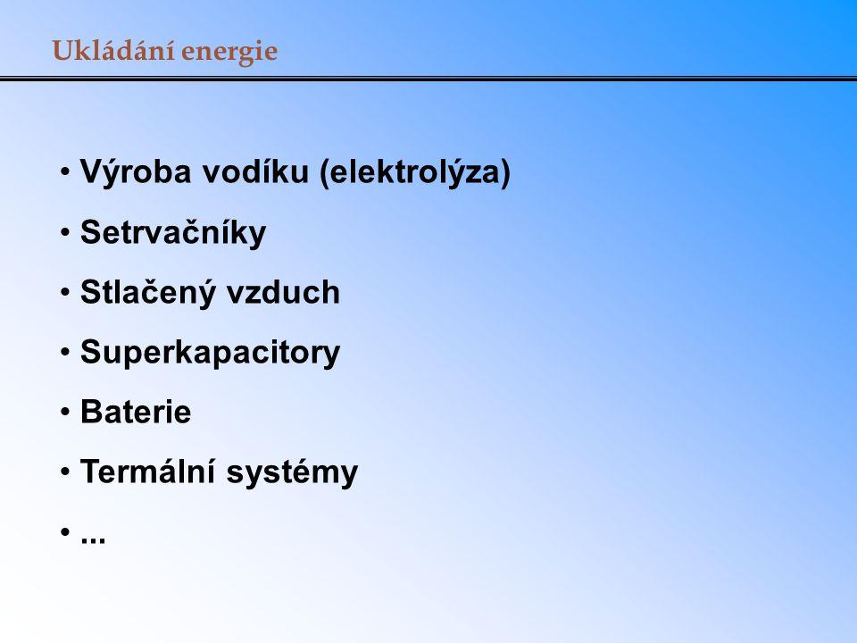 Ukládání energie Výroba vodíku (elektrolýza) Setrvačníky Stlačený vzduch Superkapacitory Baterie Termální systémy...