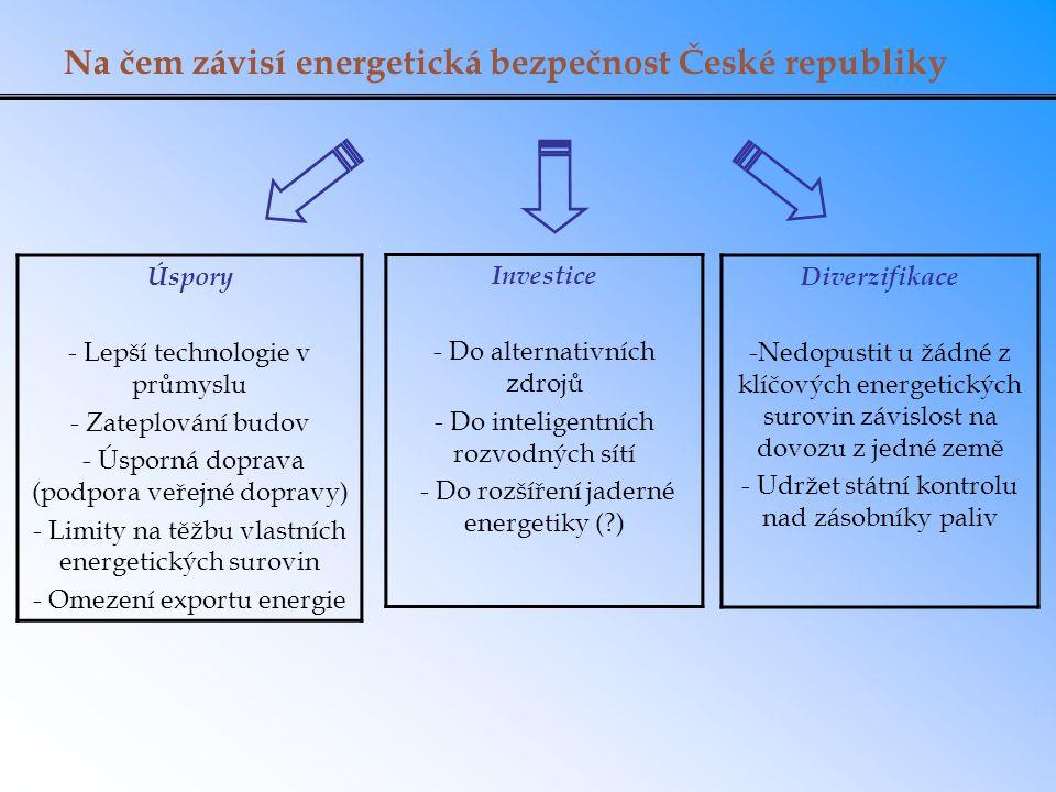 Na čem závisí energetická bezpečnost České republiky Úspory - Lepší technologie v průmyslu - Zateplování budov - Úsporná doprava (podpora veřejné dopravy) - Limity na těžbu vlastních energetických surovin - Omezení exportu energie Investice - Do alternativních zdrojů - Do inteligentních rozvodných sítí - Do rozšíření jaderné energetiky (?) Diverzifikace -Nedopustit u žádné z klíčových energetických surovin závislost na dovozu z jedné země - Udržet státní kontrolu nad zásobníky paliv