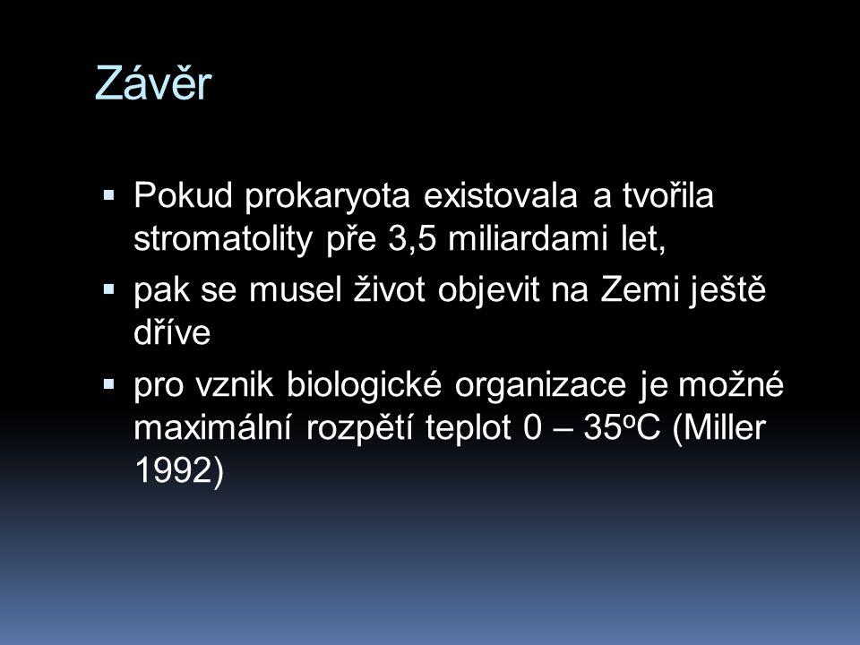 Závěr  Pokud prokaryota existovala a tvořila stromatolity pře 3,5 miliardami let,  pak se musel život objevit na Zemi ještě dříve  pro vznik biolog