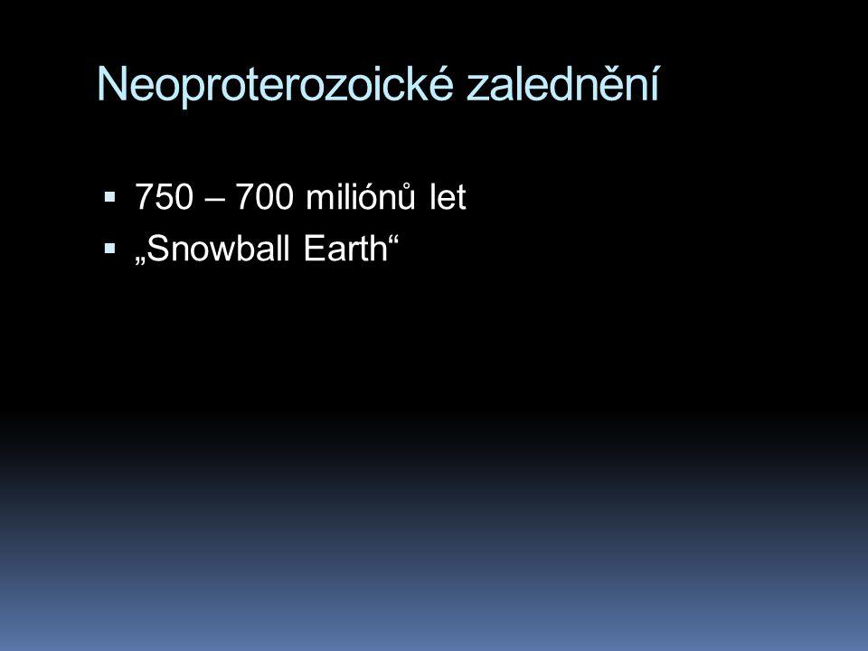 """Neoproterozoické zalednění  750 – 700 miliónů let  """"Snowball Earth"""""""