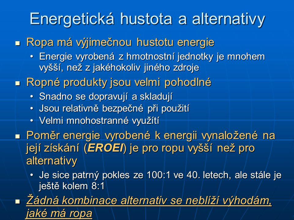 Energetická hustota a alternativy Ropa má výjimečnou hustotu energie Ropa má výjimečnou hustotu energie Energie vyrobená z hmotnostní jednotky je mnohem vyšší, než z jakéhokoliv jiného zdrojeEnergie vyrobená z hmotnostní jednotky je mnohem vyšší, než z jakéhokoliv jiného zdroje Ropné produkty jsou velmi pohodlné Ropné produkty jsou velmi pohodlné Snadno se dopravují a skladujíSnadno se dopravují a skladují Jsou relativně bezpečné při použitíJsou relativně bezpečné při použití Velmi mnohostranné využítíVelmi mnohostranné využítí Poměr energie vyrobené k energii vynaložené na její získání (EROEI) je pro ropu vyšší než pro alternativy Poměr energie vyrobené k energii vynaložené na její získání (EROEI) je pro ropu vyšší než pro alternativy Je sice patrný pokles ze 100:1 ve 40.